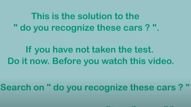 Løsningen til quizzen - Do you Recognize these cars _