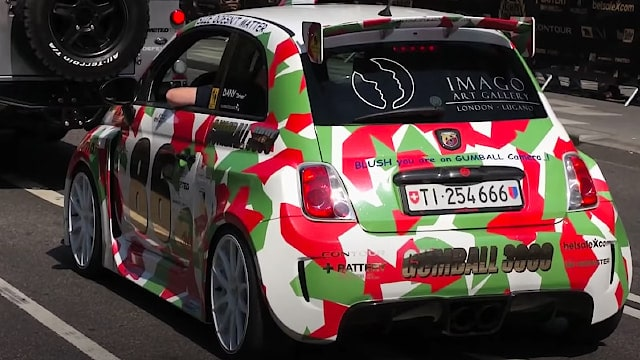Fiat 500 Abarth with 300HP - Gumball 3000 - LOUD sound!! - Team 86