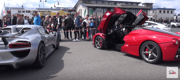 Sportscar Event 2017 på Jyllandsringen porsche 918 spyder og ferrari laferrari
